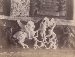 Close view of a small sculpture group from above the shrine door of the Kashivishveshvara Temple, Lakkundi